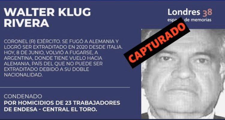 Criminal represor chileno Walther Klug detenido en Buenos Aires